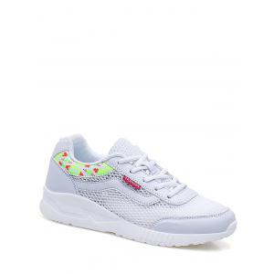 Geometric Pattern Breathable Athletic Shoes - White - 40
