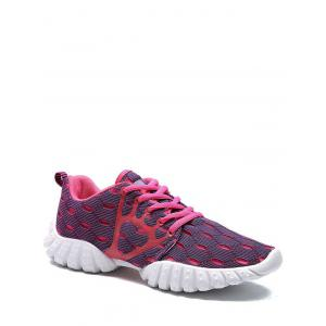 Mesh Breathable Geometric Pattern Athletic Shoes - Purple - 39