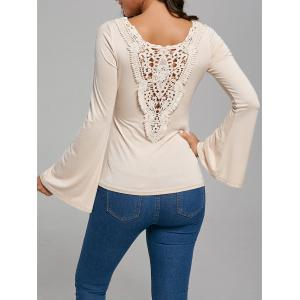 Hollow Out Lace Trim Flare Sleeve T-Shirt
