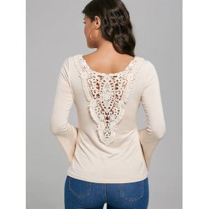 Hollow Out Lace Trim Flare Sleeve T-Shirt - APRICOT XL