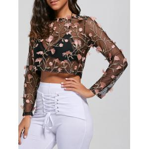 Long Sleeve See Thru Embroidery Shirt