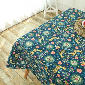Bohemian Sika Deer Floral Printed Linen Table Cloth - COLORFUL W55 INCH * L40 INCH