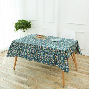 Bohemian Sika Deer Floral Printed Linen Table Cloth - COLORFUL W55 INCH * L78 INCH