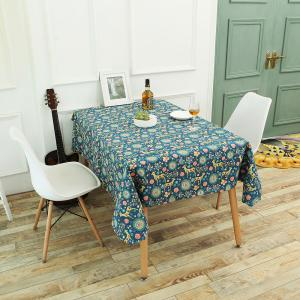 Bohemian Sika Deer Floral Printed Linen Table Cloth - Colorful - W55 Inch * L78 Inch