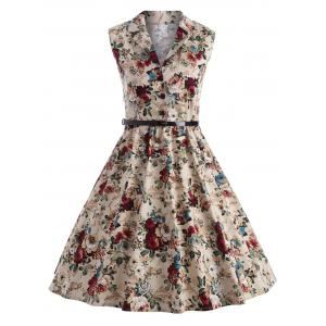 Vintage Floral Print Swing Pin Up Dress