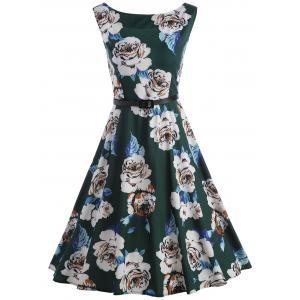 Vintage Floral Party Swing Dress - Blackish Green - Xl