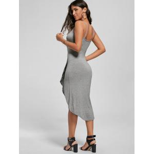 Knotted Asymmetrical Slip Dress - GRAY 2XL