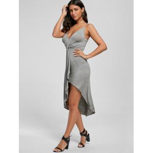 Knotted Asymmetrical Slip Dress - GRAY S