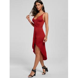Knotted Asymmetrical Slip Dress - RED 2XL