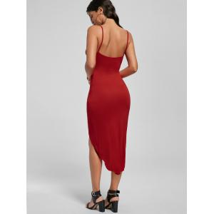 Knotted Asymmetrical Slip Dress - RED L