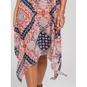 Tribal Print Lace Up Handkerchief Bohemian Dress - COLORMIX S