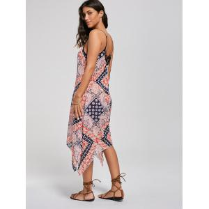 Tribal Print Lace Up Handkerchief Bohemian Dress -
