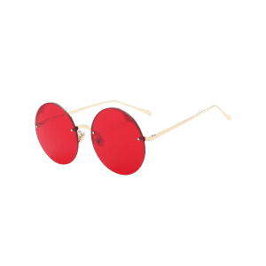 Round Metallic Semi-rimless Sunglasses -