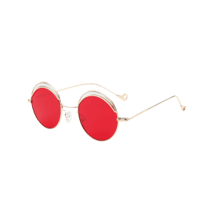 Hollow Out Leg Round Two-tone Splicing Sunglasses - BRIGHT RED