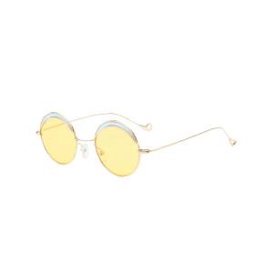 Hollow Out Leg Round Two-tone Splicing Sunglasses - LIGHT YELLOW