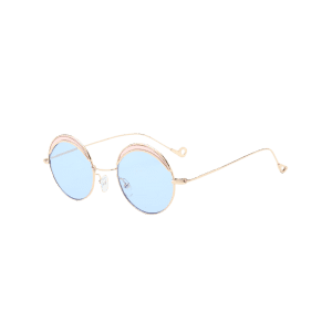 Hollow Out Leg Round Two-tone Splicing Sunglasses - LIGHT BLUE