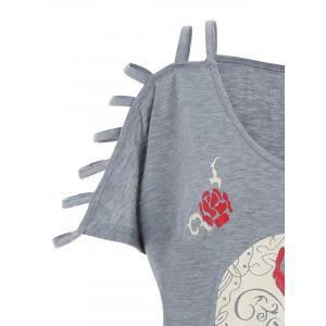 Plus Size Cut Out Skull Print Tee - GRAY XL