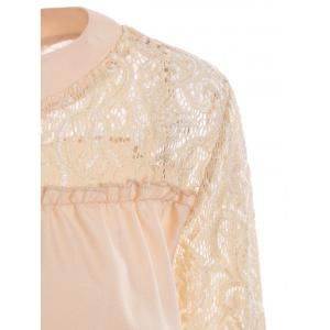 Lace Trim Crew Neck Bell Sleeve Top -