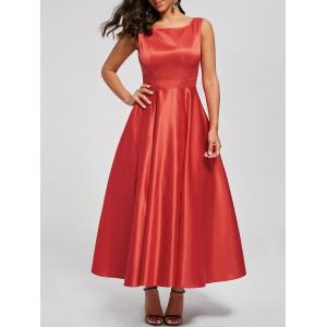Bowknot Backless Swing Retro Prom Dress - Red - 2xl