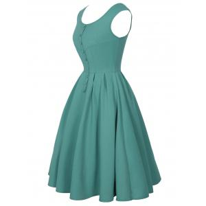 Buttoned Sleeveless Vintage Dress - GREEN L