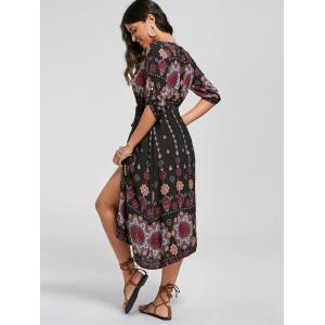 Tribal Print Button Down Split Bohemian Dress -