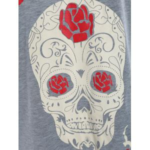 Plus Size Cut Out Skull Print Tee -