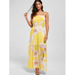 Spaghetti Strap Floral Chiffon Split Beach Maxi Dress -