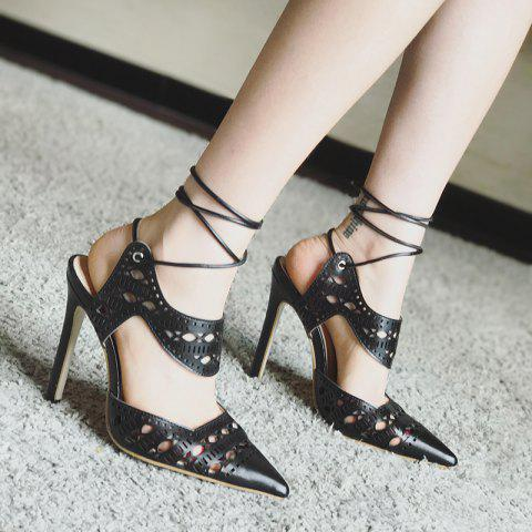 Chic Hollow Out Tie Up Stiletto Heel Sandals - 37 BLACK Mobile