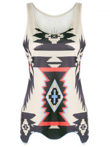 Sale Casual Graphic Geometric Print Tank Top KHAKI S