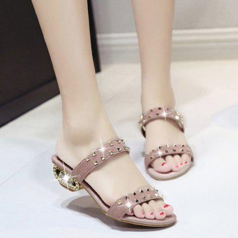 Discount Suede Rivets Strange Style Slippers PINK 39