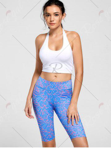 Chic High Waist Pattern Funky Gym Leggings - S BLUE Mobile