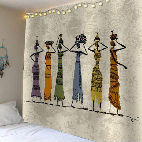 Hot African Girl Print Waterproof Wall Hanging Tapestry - W59 INCH * L51 INCH GRAY Mobile