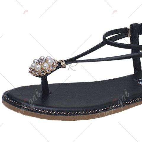 New Faux Pearl Flat T-Strap Thong Sandals - 37 GREEN Mobile