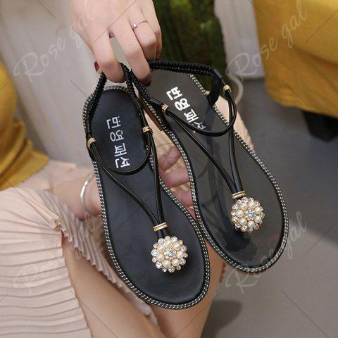 Affordable Faux Pearl Flat T-Strap Thong Sandals - 39 BLACK Mobile