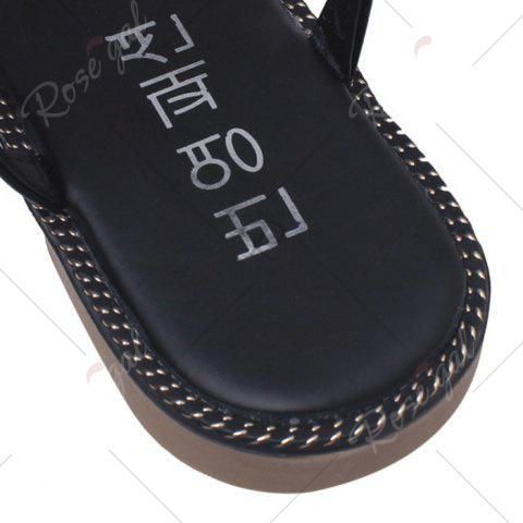 Buy Faux Pearl Flat T-Strap Thong Sandals - 39 BLACK Mobile