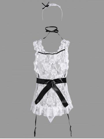 Latest Lace Ruffles Maid Cosplay Costume - ONE SIZE WHITE Mobile