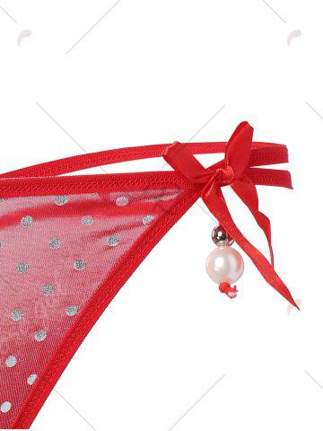 Outfits Lingerie Polka Dot Faux Pearl G-String - ONE SIZE RED Mobile