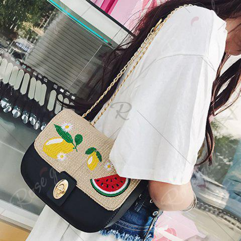 New Chain Fruit Embroidered Crossbody Bag - BLACK  Mobile