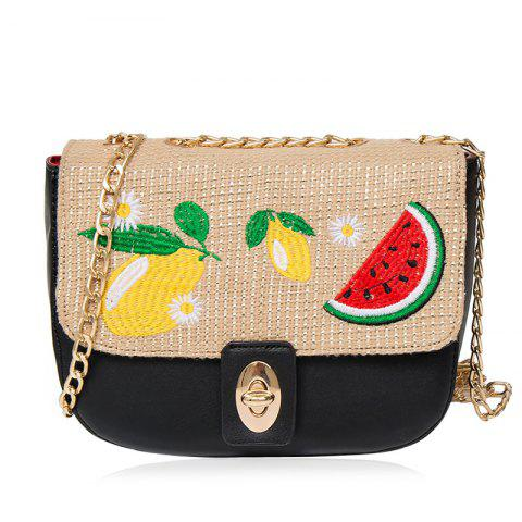 Fashion Chain Fruit Embroidered Crossbody Bag - BLACK  Mobile