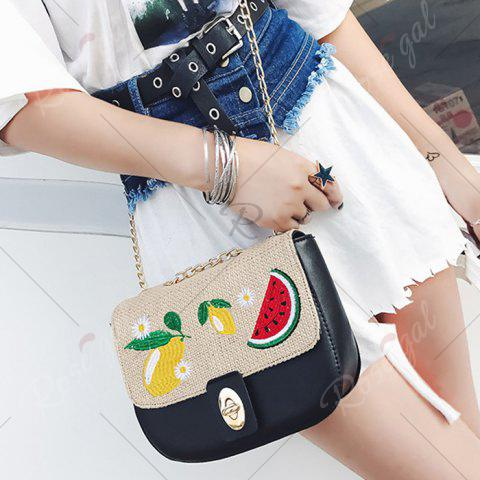 Shops Chain Fruit Embroidered Crossbody Bag - BLACK  Mobile