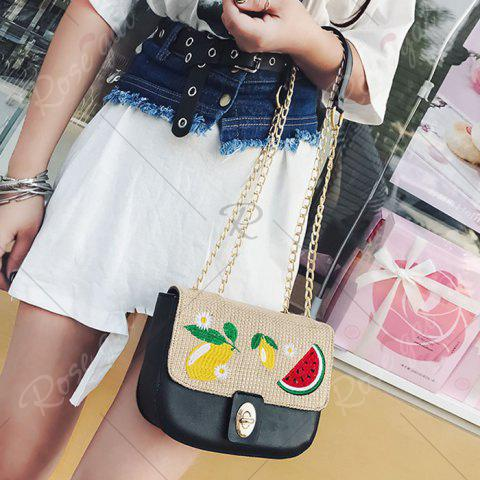 Sale Chain Fruit Embroidered Crossbody Bag - BLACK  Mobile
