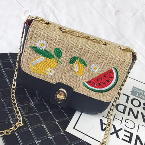 Store Chain Fruit Embroidered Crossbody Bag - BLACK  Mobile