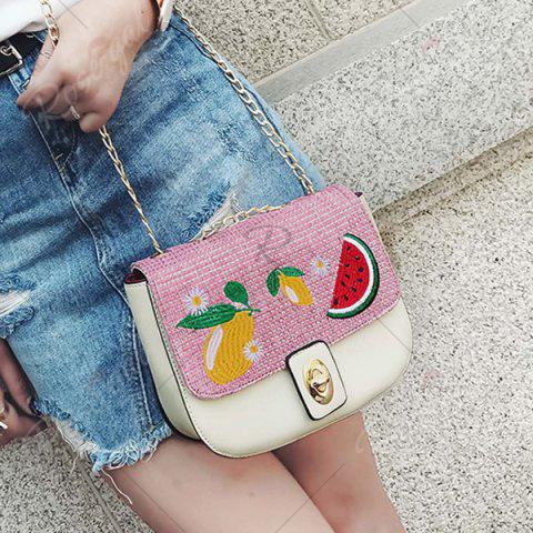 Buy Chain Fruit Embroidered Crossbody Bag - WHITE  Mobile