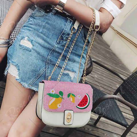 Unique Chain Fruit Embroidered Crossbody Bag - WHITE  Mobile