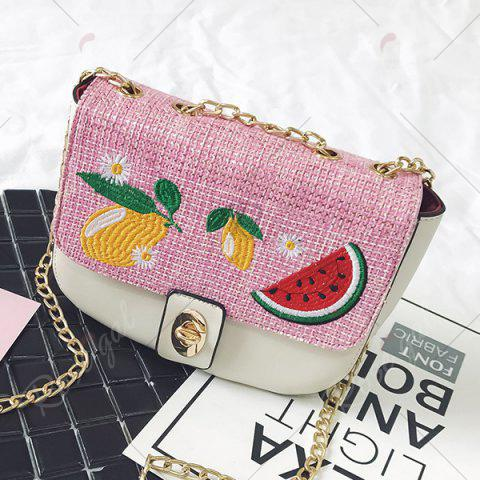 Outfits Chain Fruit Embroidered Crossbody Bag - WHITE  Mobile