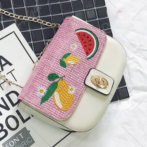 New Chain Fruit Embroidered Crossbody Bag - WHITE  Mobile