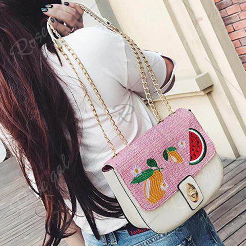 Fashion Chain Fruit Embroidered Crossbody Bag - WHITE  Mobile