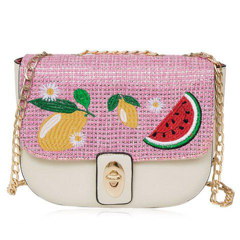 Store Chain Fruit Embroidered Crossbody Bag - WHITE  Mobile