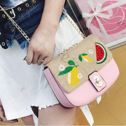 Outfits Chain Fruit Embroidered Crossbody Bag - PINK  Mobile