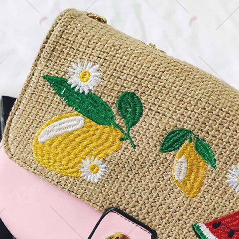 Best Chain Fruit Embroidered Crossbody Bag - PINK  Mobile